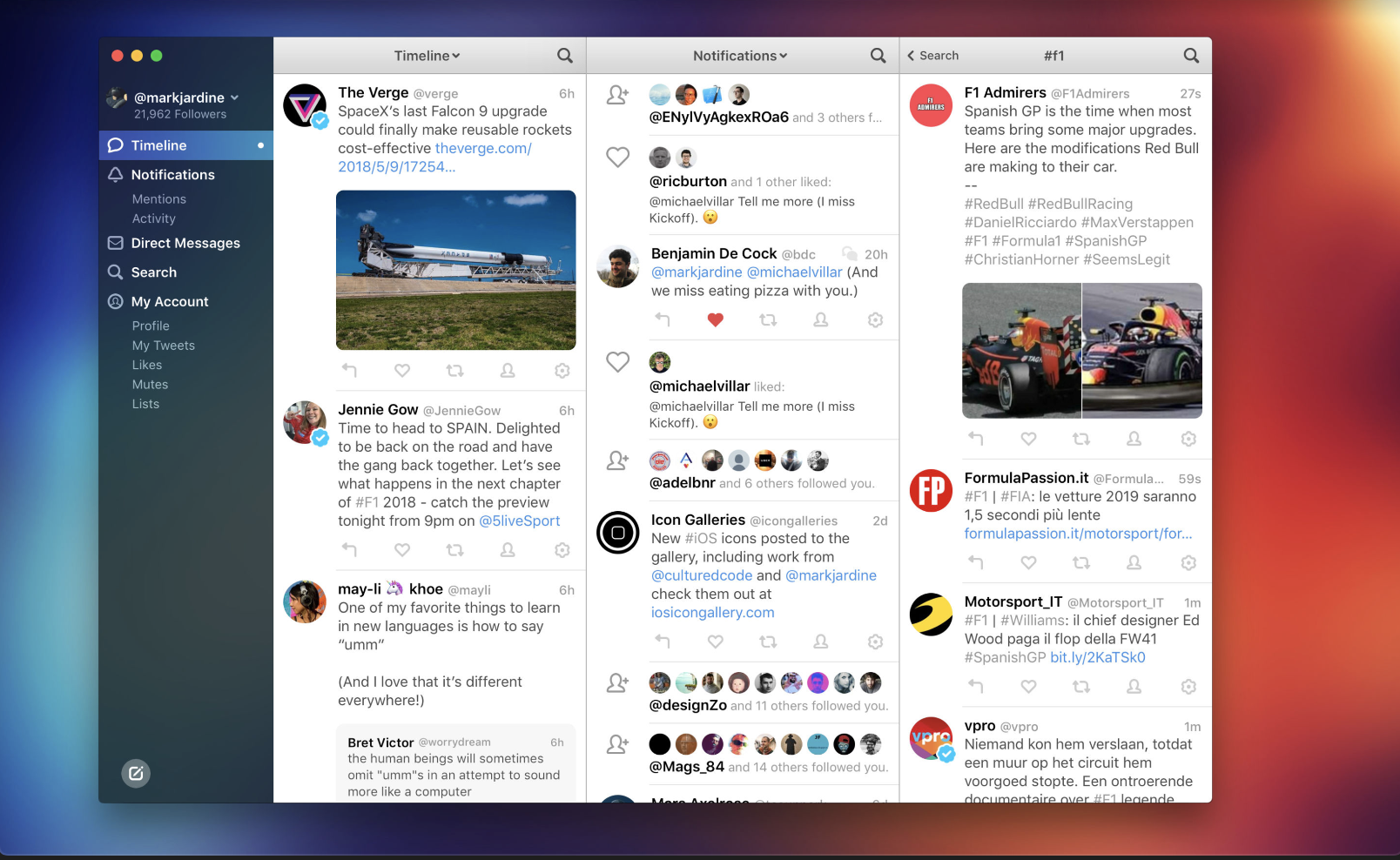 Twitter for Mac Text and Icons